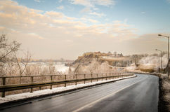 Petrovaradin Fortress in the fog in winter. Ambience of the Petrovaradin fortress in winter Royalty Free Stock Image