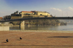 Petrovaradin Fortress  in Novi Sad, Serbia. Petrovaradin Fortress  is a fortress in Novi Sad, Serbia. It is located in the province of Vojvodina, on the right Royalty Free Stock Photos