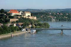 Petrovaradin Fortress and river Danube in Novi Sad, Serbia. Royalty Free Stock Photography