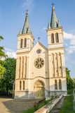 Church of Our Lady of the Snows on Tekije. Petrovaradin, Serbia - April 28, 2019:The main entrance to the Church of Our Lady of the Snows on Tekije stock photos
