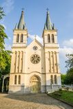 Church of Our Lady of the Snows on Tekije. Petrovaradin, Serbia - April 28, 2019:The main entrance to the Church of Our Lady of the Snows on Tekije stock image