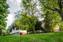 Church of Our Lady of the Snows on Tekije. Petrovaradin, Serbia - April 28, 2019:Yard of the Church of Our Lady of the Snows on Tekije royalty free stock photos