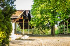 Church of Our Lady of the Snows on Tekije. Petrovaradin, Serbia - April 28, 2019:Yard of the Church of Our Lady of the Snows on Tekije royalty free stock image