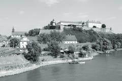 Petrovaradin, Serbia. Novi Sad, Serbia - city in the region of Vojvodina. Petrovaradin fortress and river Danube. Black and white tone - retro monochrome color Stock Images