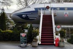 Petrovice, Ustecky kraj, Τσεχία - 10 Δεκεμβρίου 2016: παλαιό επιβατηγό αεροσκάφος Tupolev τ-104 σήμερα που λειτουργεί ως εστιατόρ Στοκ Εικόνες
