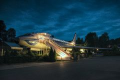 Petrovice, Ustecky kraj, Czech republic - June 09, 2019: airliner Tupolev T-104 today functioning as a restaurant royalty free stock image