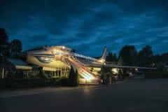 Petrovice, Ustecky kraj, republika czech - Czerwiec 09, 2019: samolotu Tupolev T-104 dzisiaj funkcjonuje jako restauracja obraz royalty free
