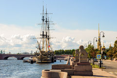 Petrovskaya embankment of Neva river, St. Petersburg, Russia Royalty Free Stock Images