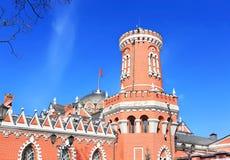 Petrovsky旅行的宫殿塔  库存照片