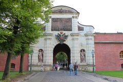 Petrovsky gates. Peter-Pavel`s Fortress. St. Petersburg. royalty free stock images