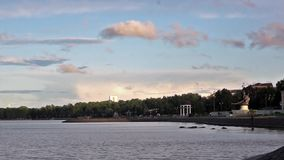 The Petrozavodsk embankment from Onego lake stock video