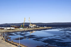 Petrozavodsk: Onega quay. Petrozavodsk: a spring landscape of quay of Onega with a kind on a mooring Royalty Free Stock Photo
