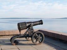 Petrozavodsk. Pig-iron gun on Lake Onega Embankment Royalty Free Stock Photos