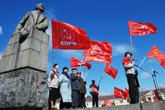 PETROZAVODSK, RÚSSIA ? O 1º DE MAIO: membros do partido comunista ral Imagem de Stock Royalty Free