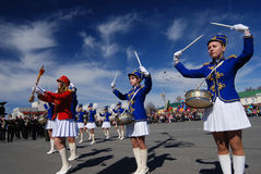 PETROZAVODSK, RUSSIA � MAY 9: drummer girls at the parade celebr. Ating the Victory Day on May 9, 2011 in Petrozavodsk, Russia royalty free stock images