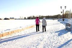 Walking women on the city promenade with walking sticks royalty free stock image