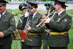 PETROZAVODSK, RUSSIA � JUNE 8: military band musicians perform o Stock Images