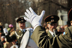 PETROZAVODSK, RUSSIA � MAY 9: conductor hand in a white glove on Stock Image