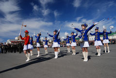 PETROZAVODSK, RUSSIA � MAY 9: drummer girls at the parade celebr. Ating the Victory Day on May 9, 2011 in Petrozavodsk, Russia Royalty Free Stock Photos