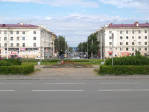 Petrozavodsk. View of Lenin Avenue from Gagarin Square Royalty Free Stock Photo