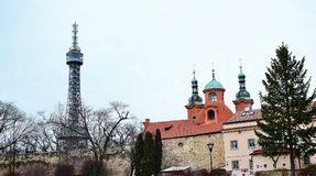 Petrshinskaya Tower of Prague is similar to the Eiffel, high, iron patterns, observation deck. Stock Images