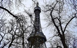 Petrshinskaya Tower of Prague is similar to the Eiffel, high, iron patterns, observation deck. Czech Republic Royalty Free Stock Images