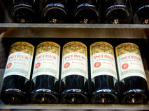 Petrus bottles of the most expensive wine in the world stock image
