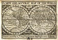 1646 Petrus Kaerius在半球的世界地图 免版税库存图片