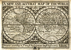 Petrus Kaerius World Map 1646 i halvklot Royaltyfria Bilder