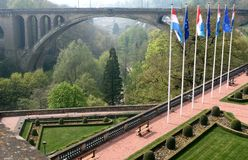 Petrusse Park and Adolphe Bridge, Luxembourg. Petrusse Park in Luxembourg City lies in the valley of the River Petrusse between the upper town and the Bourbon Stock Photos