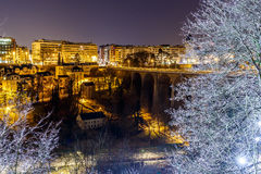 Petrusse valley in the night, Luxembourg. Europe Stock Photo