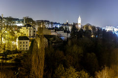 Petrusse valley in the night, Luxembourg. Europe Stock Image