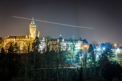 Petrusse valley in the night, Luxembourg. Europe Royalty Free Stock Photo