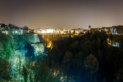 Petrusse valley in the night, Luxembourg. Europe Stock Images