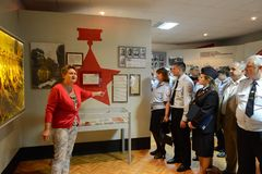 Excursion in the military-historical museum of Zoe Kosmodemyanskoy. Petryshchevo, Russia - June 20, 2015: Excursion in the military-historical museum of Zoe Royalty Free Stock Photos