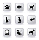 Pets ícones Imagens de Stock