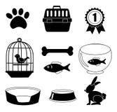 Pets ícones ilustração royalty free