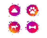 Pets ícones Pata do cão e sinais da fezes Vetor ilustração stock