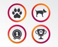 Pets ícones Pata do gato com sinal das embreagens ilustração stock