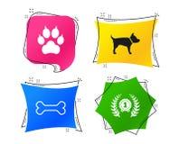 Pets ícones Pata do gato com sinal das embreagens Vetor ilustração stock