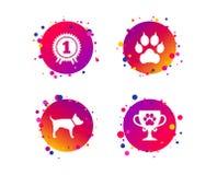 Pets ícones Pata do gato com sinal das embreagens Vetor ilustração royalty free