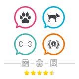 Pets иконы Лапка кота с знаком муфт Стоковая Фотография