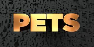 Pets - текст золота на черной предпосылке - представленное 3D изображение неизрасходованного запаса королевской власти Стоковое Фото