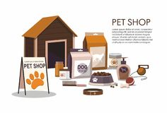 Pets accessories isolated on white background. Pet shop. Vector Illustration stock illustration
