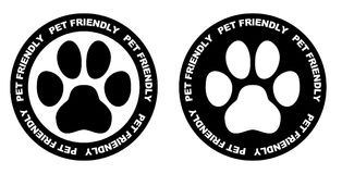 Pets allowed sign. Black and white paw symbol in circle with pet. Friendly text written on it vector illustration