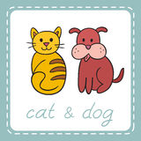 Pets animals dog and cat (puppy and kitten). Stock Photos