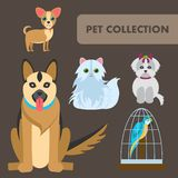 Pets, Animals Flat Vector Color Characters Set royalty free illustration