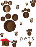 Pets and animals foot steps and traces. With a small red roof cage. Digital vector image Stock Photo