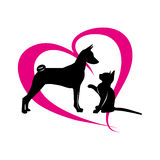 Pets on the background of magenta hearts Royalty Free Stock Images