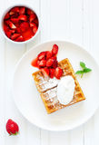 Pets (Belgian) waffles with strawberries Royalty Free Stock Photography